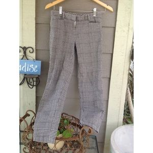 The Limited black/white plaid ankle pants